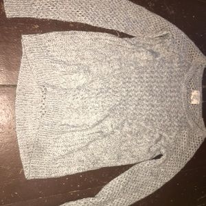 Women's White and Grey Mesh Hippie Rose Sweater